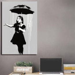 figure girl oil painting Promo Codes - Banksy Nola Girl Umbrella Raining New Orleans Canvas Painting Print Living Room Home Decor Modern Wall Art Oil Painting Poster