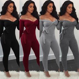 cd87379db 2019 calças de renda macacão Sexy Fora Do Ombro V Profundo Lace Up Bodysuit Macacões  Mulheres