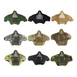 2019 malla de las máscaras del airsoft Bicicleta Ciclismo Tactical PDW Malla metálica Media mascarilla plegable Caza Airsoft Game Masks CS máscara protectora P33 rebajas malla de las máscaras del airsoft