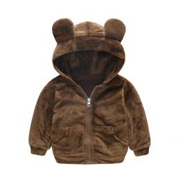 Giacche per animali da ragazzi online-Inverno Fashion Warm Animal Fleece Child Coat Fodera in cotone Baby Girls Boys Giacche Capispalla per bambini Da 1 a 4 anni