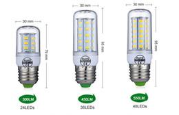 Luz de milho led e27 36 on-line-E27 E14 Lâmpada LED SMD5730 220 V Bulbo De Milho 24 36 48 56 69 72 LEDs Candelabro Vela Luz LED Para A Decoração Home Ampola