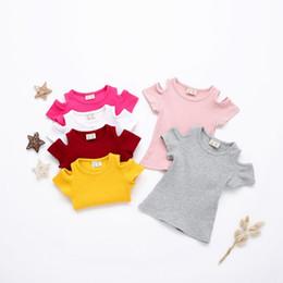 1-3 T Yaz bebek kız t-shirt off-omuz kısa kollu şeker renk pamuk bebek kız üstleri kaliteli tops cheap cotton candy color t shirts nereden pamuk şeker renk t shirt tedarikçiler