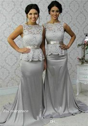 satin grey dress mermaid Promo Codes - 2019 Cheap Grey Lace Peplum Bridesmaid Dress Long Country Garden Formal Wedding Party Guest Maid of Honor Gown Plus Size Custom Made