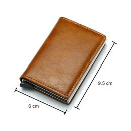 Tarjeta de walet online-Nuevo monedero anti de los hombres bolsa de dinero delgado mini monedero de aluminio masculino titular de la tarjeta rfid billetera delgada pequeña billetera inteligente walet portfel