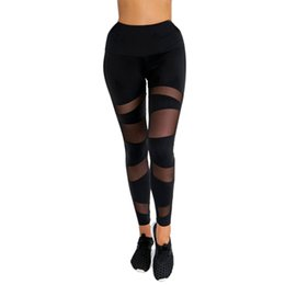 black female yoga pants wholesale Promo Codes - Summer Women Black Mesh Stitching Sports Yoga Pants High Waist Workout Gym Fitness Exercise Athletic Trousers For Female Fashion