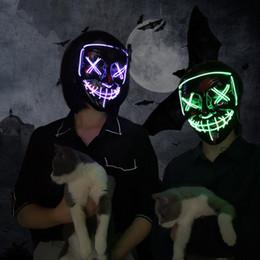 Máscara oscura online-Máscara Led Máscara de fiesta de Halloween Máscaras de disfraces Máscara de neón Luz que brilla en la oscuridad Máscara de terror Horror Maska Máscara resplandeciente Purga