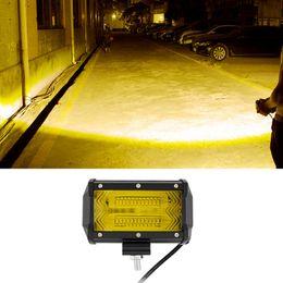 Camion led barre lumineuse ambre en Ligne-2pcs 5 pouces feux de brouillard 6D LED barres lumineuses 72W double rangée orange faisceau d'inondation LED conduite lumière étanche travail lumière pour camions tout-terrain Jeep ATV U