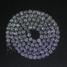 correntes de diamantes simulados Desconto Mens Banhado A Prata Iced Out 20-30 polegada 1 Linha Simulado Diamante Bling Tênis Cadeia Colar de Jóias Hip Hop