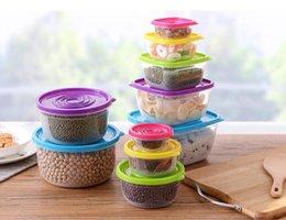 Экологически чистый пластик онлайн-5 Шт. / Компл. Экологически Чистый Ящик Для Хранения Продуктов Питания Пластиковые Запечатанные Crisper Set Home Круглый Квадрат Прозрачные Запечатанные Crisper Хранилища