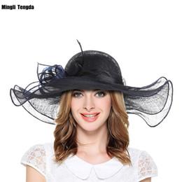 Decorazioni nere blu royal online-Cappelli eleganti di cerimonia nuziale di avorio / blu reale / nero signora con il cappello convenzionale della decorazione del fiore della rosa per la chiesa / la festa nuziale / all'aperto