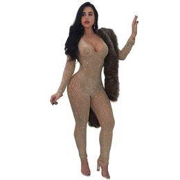 macacao jeans Promotion Femmes Designer Tenues Fahsion Brillant Carreleurs Barboteuses Vêtements Perspective sexy pour femmes 2019 Autumn Party Wear Livraison gratuite