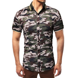 97128360a4071f Mens Summer Casual Shirt 2019 Brand Short Sleeve Plus Size Camouflage Print  Shirts Men Casual Clothing Slim Fit Shirt Top 5.3A