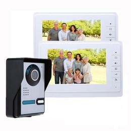 Kits de campainha com fio on-line-Casa de Vídeo Campainha HD Câmera de Segurança 4-com fio de 7 polegadas Telefone Video Da Porta Interfone Kit Night Vision Campainha Peephole