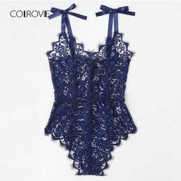 Bodysuit 24 online-COLROVIE Ribbon Tie Shoulder Body in pizzo floreale 2018 Summer New Sleeveless Body sexy V Neck Knot Zipper Tuta donne Y190424