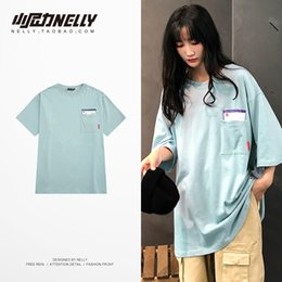 t-shirt de style universitaire Promotion T-shirt hip-hop col rond japonais oversize à col rond en coton japonais coréen pour hommes et femmes d'été