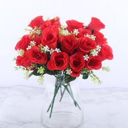 5 teste rosa artificiale bouquet di seta rosso rosa rose reali falso fiore a buon mercato giardino decor decorazione interna per la festa a casa A10034 da
