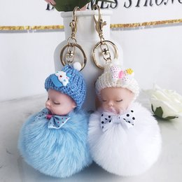 2020 niedliche bogenbeutel Cute Sleeping Baby Doll Keychain Bow Pompom Ball Carabiner Key Chain Keyring Women Kids Key Holder Bag Pendant key Ring Favor RRA2896