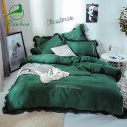 Juego de sábanas de cama coreano online-ROWBOE marca coreana princesa estilo de algodón cómodo juego de cama con volantes juego de cama king size fundas de edredón sábanas funda de almohada
