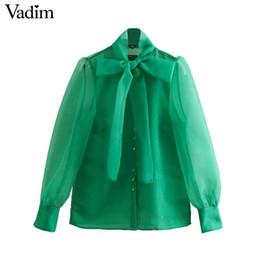 Vadim Frauen grüner Organza Bluse Laterne Ärmel Fliege Kragen stilvolle weibliche beiläufige Hemd Langarm feste Oberteile blusas LA898 von Fabrikanten