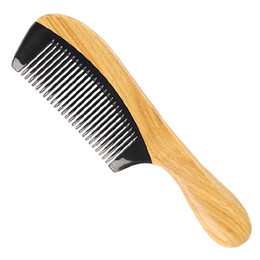 Круглые гребни для волос онлайн-Anti-Static Wooden Smoothly Gift Styling Tools Women Men Green Sandalwood Kids Brush Horn Comb Fine Tooth Hair Care Round Handle