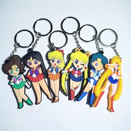 sailor moon anime figures Promo Codes - Cartoon Anime Sailor Moon Girls Key Chain Japanese Comic Silicone Figure Morty Keyring Double Side Key Ring PVC Anime Sailor Moon Key Chain