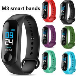 Herzfrequenz schlaf tracker online-M3 Fitness Smart Armband IP67 Wasserdicht Pulsmesser Schlafüberwachung Smartwatch PK Mi Smart bands Armbänder Abnehmbar Für Geschenk
