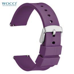 2019 relógio de cinta de borracha roxa Faixas de relógio roxas da borracha de silicone de WOCCI para relógios do esporte alças espertas de 14mm 18mm 20mm 24mm 24mm relógio de cinta de borracha roxa barato