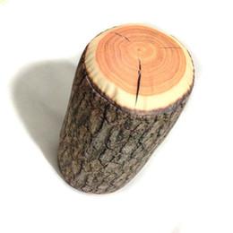 bûches de bois Promotion Bûche de bois confortable travesseiro souche d'arbre en bois Texture jeter almofada voyage cou oreiller de corps dans la voiture décorer 17x38cm
