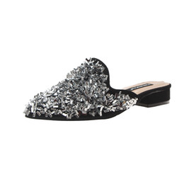 men black lowest shine shoes Promo Codes - Female flip flops elegant slippers Women's Summer Sandals Shoes pointed toe Low heels Shoes Popular Shining sequins slippers