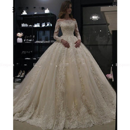 robe long muslim Promo Codes - Luxury Princess Ball Gown Wedding Dresses 2019 Muslim Lace Dubai Arabic Bridal Gowns Long Sleeves Robe De Mariee