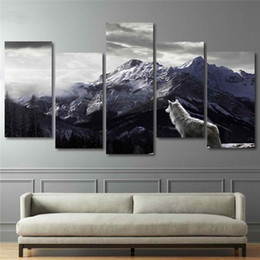 wolf art prints Coupons - Cool HD Prints Canvas Wall Art Living Room Home Decor Pictures 5 Pieces Snow Mountain Plateau Wolf Paintings Animal Posters Framework