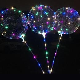 Cordas de festa on-line-Bobo Balão LED Piscando com 70 cm Pole 3 M Corda Balão Transparente Iluminação Luminosa Balões Para Festa de Casamento Em Casa de Aniversário Decoração