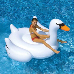 Riesenschwimmenring online-150 CM 60 zoll Riesenschwan Aufblasbare Aufsitz Pool Spielzeug Float aufblasbare schwan pool Schwimmring Urlaub Wasser Spaß Spielzeug