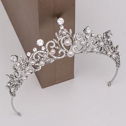 diadema de circonia Rebajas Exquisita CZ coronas de novia de perlas de cristal Rhinestone tiaras de la boda más nuevo diadema nupcial de plata de coronas accesorio nupcial del pelo