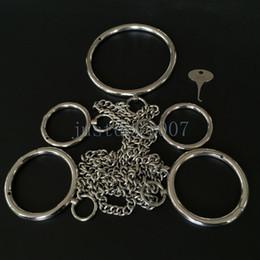 algemas de metal Desconto Manilhas de aço inoxidável do grilhão do escravo das limitações do colar-pulso-tornozelo do metal lustroso AU65