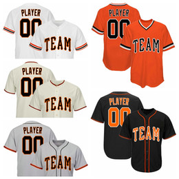 nomes de equipe laranja Desconto Laranja Preto Creme Branco Cinza Personalizado Camisola de Beisebol Com Botão ou Pulôver Qualquer Equipe qualquer Número e Nome Tamanho S-3X 4X 5X 6X