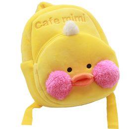 Cute Animal Yellow Duck Cafe Mimi Peluche Zaino Mini Carino peluche Sacchetto di scuola per bambini da zaino khaki dei capretti fornitori