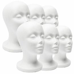 New Prático Espuma Branca Feminino Manequim Cabeça Perucas de Cabelo Óculos Cap Display Titular Stand Modelo Manequim Chapéu Estande de Isopor de