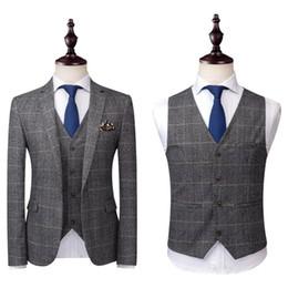 Mens grau silberne hochzeitsanzüge online-2020 Grau Herren Anzüge Tweed Wolle überprüfen Anzüge Regular Fit Bräutigam Smoking nach Maß Plaid Hochzeit Smokings formales Kleid