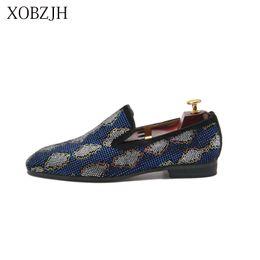 Fundo vermelho azul sapatos formais on-line-Italiano Genuíno Couro Mocassins De Casamento Dos Homens De Luxo Vestido Formal sapatos de fundo vermelho Designer Azul Rhinestone Prom Shoes Tamanho Grande