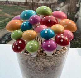 porcelaine poupées à la main Promotion 100 pcs Artificielle Coloré Mini Champignon Fée Jardin Miniatures Gnome Mousse Terrarium Décor Résine Artisanat Bonsaï Décor À La Maison Pour Diy Zakka