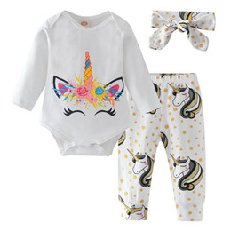 terno de unicórnio Desconto Ins Unicorn bebê roupas de menina Recém-nascidos Outfits bonito manga comprida bebê romper + calças calças + arcos bebê headbands Conjuntos infantis meninas Terno A4337