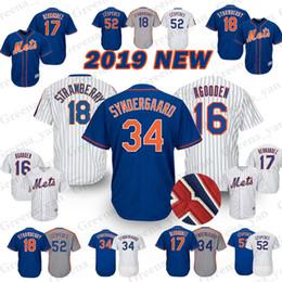 Camiseta de béisbol de los New York Mets 34 Noah 52 Yoenis Cespedes 18 Darryl Strawberry 17 Keith Hernandez 16 Dwight Gooden Jerseys camiseta desde fabricantes
