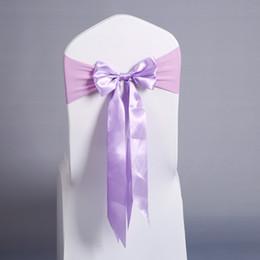 Canada 30pcs chaise ceinture longue queue papillon noeud papillon tout fait prêt ceinture spandex chaise de mariage décoration 17 couleurs Offre