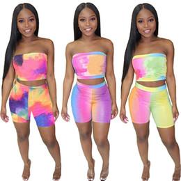 Progettista di marca da donna Tuta sportiva Tie Dye Wrapped Chest Shorts Completo da 2 pezzi Tuta sportiva Crop Top sportswear tuta estiva 517 cheap wrap suit da avvolgere il vestito fornitori