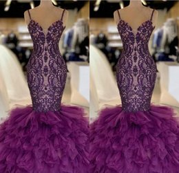 abiti da sera viola abiti Sconti Viola Prom Dresses Mermaid 2019 Gonna a file Tulle e pizzo Celebrity Evening Dress Floor Length Sexy 2K19 Abiti del partito