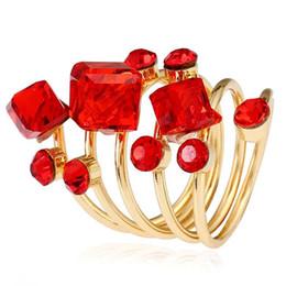 zircão de jóias de cristal coreano Desconto Moda Colorido Zircão Anéis De Cristal Mulheres Gem Banhado A Ouro Anéis de Luxo Anel Primavera Jóias Estilo Coreano Venda Quente