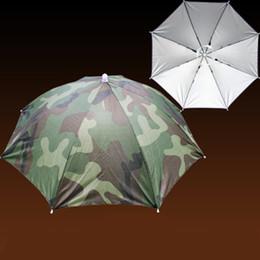 guarda-chuvas de chuva Desconto Headwear Sun Umbrella Camuflagem Portátil Dobrável Pesca Caminhadas Praia Camping Cap com Elastic band Head Chapéus Guarda-chuva Chapéu Chuva