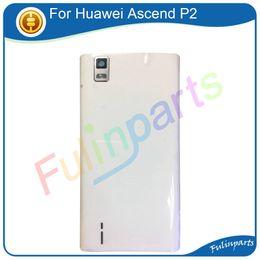 cámara de la casa blanca Rebajas Negro blanco para Huawei Ascend P2 Cubierta de la batería Cubierta de cristal con parte posterior Lente de la cámara Repuestos + Herramientas