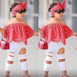 Abbigliamento per bambini 2019 summer ins esplosione modelli ragazze set camicia rossa monospalla spalla + buco pantaloni + fascia tre pezzi da